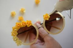 DIY yellow floral sunglasses by Cupcakes and Cashmere #EDC #DIY