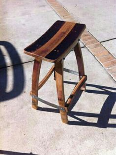 Bench made from wine barrel staves