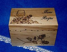 Recipe Box Wood Burned Wood Recipe Box Wine by EssenceOfTheSouth, $68.50