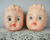 Two Vintage Rubber Doll Heads for Crafting