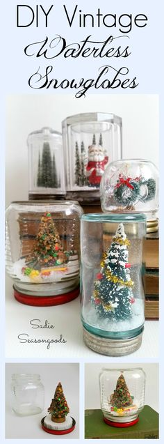 "Old jars- Mason or otherwise- when paired with vintage bottlebrush trees, antique Santa figurines, faux snow, and festive trimmings become the perfect Christmas decoration- waterless snowlglobes! An easy DIY project that anyone can do, it's a great way to display AND store your miniature Christmas ""bits"". Fun, festive, and inexpensive upcycling / repurposing by #SadieSeasongoods"