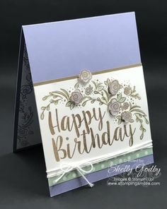 Stampin' Up! Big on Birthdays Stamp Set. If you make birthday cards for those who like Stampin' Up! Big on Birthdays Stamp Setflowers, take a look at my hand stamped birthday card made with the new the Big on Birthdays Stamp Set from the 2017 Stampin' Up! Occasions Catalog.  Order Big on Birthdays in my online store www.shopwithshelly.com