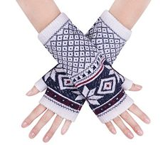 stylish dress glove warm winter mittens knitted fingerless gloves Navy White >>> Details can be found by clicking on the image. (This is an affiliate link)
