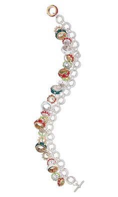 Bracelet with Dione™ Large-Hole Pewter and Colored Enamel Beads and Silver-Plated Jumprings - Fire Mountain Gems and Beads