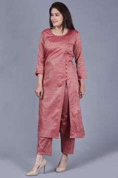 Pinkish Silk Side Slit Kurti with Straight Pants - 12 dress Designs pants ideas Kurti Sleeves Design, Sleeves Designs For Dresses, Kurta Neck Design, Neck Designs For Suits, Dress Neck Designs, Silk Kurti Designs, Kurta Designs Women, Salwar Designs, Kurti Designs Party Wear