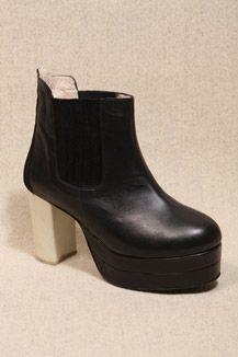 Carin Wester Black Crepe Heel Boots