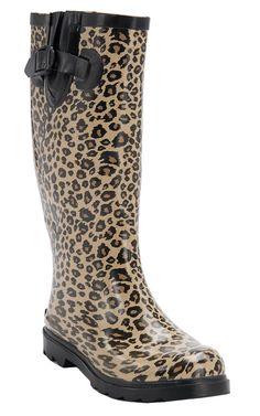 Corky's® Women's Cheetah Sinshine Round Toe Rain Boots