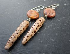 Artisan Polymer Faux Bone and Genuine Fossil Stone by stacilouise,