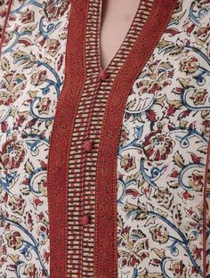 Ivory-Maroon Kalamkari-printed Front Slit Cotton Kurta - All About Salwar Neck Designs, Churidar Designs, Neck Designs For Suits, Kurta Neck Design, Neckline Designs, Kurta Designs Women, Dress Neck Designs, Sleeve Designs, Salwar Pattern