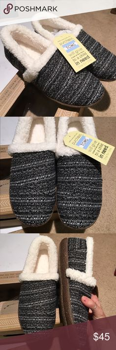 TOMS slipper shoes brand new! Super cute. Authentic TOMS slipper shoes. Brand new in box. Last picture shows all the functional details on box. Can be worn outside. TOMS Shoes Slippers