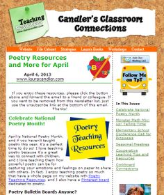 Candler's Classroom Connections newsletter - April 6th issue - National Poetry Month resources, Monster Math Mix-up Telling Time game, cooperative learning page, seasonal resources
