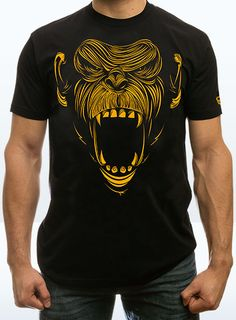 Primal Chimp t-shirt Crossfit Shirts, Crossfit Clothes, Gym Shirts, Cool Shirts, Shirt Print Design, Shirt Designs, Apparel Design, Printed Shirts, Menswear