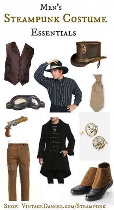 Mens steampunk costumes, clothing, boots, shoes, hats, gears, goggles, guns, vest, tie, and accessories.