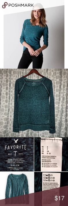 [american eagle] l/s favorite raglan t-shirt • style name: long sleeve favorite raglan t-shirt • color: seagrass (marled dark green) • lightweight burnout material with slight sunwashed effect • wide neck between a boat and scoop neck • slouchy, easy fit • condition: great preowned, minimal wear ____________________________________ ✅ make an offer!     ✅ i bundle!                      ⛔️ posh compliant closet & no trades American Eagle Outfitters Tops Tees - Long Sleeve
