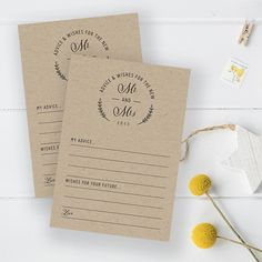 FREE Printable Advice Cards for your wedding guests to fill out and leave as a fun keepsake for you and your husband to look at for years to come.