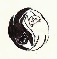 i really like this sense iam THE crazy cat lady :P I Love Cats, Crazy Cats, Cool Cats, Crazy Cat Lady, Yin Yang, Tattoo Schwarz, Black Cat Tattoos, Belly Painting, Cat Dog