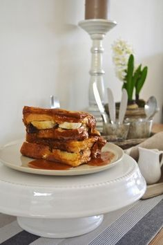 Chocolate And Banana French Toast With Salted Caramel