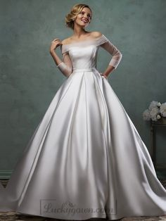Buy Off the Shoulder Three Quarter Sleeves A-line Wedding Dress Online Dress Store At LuckyGown.com