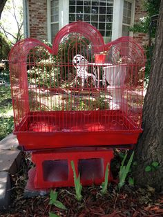 Painted lg birdcage red