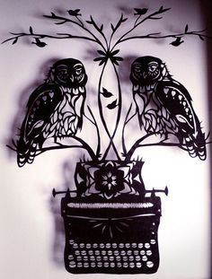 'Owls on a typewriter' paper cut by Noko of Evil Little Fingers.