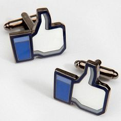 You must be a real fan to wear these Facebook Thumbs Up Like Cufflinks. I love the blue color.