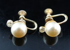 Gold Vermeil Sterling Screw back Earrings 925 Sterling silver  with white faux pearls cz wedding bridal x137 by VintageEstate86 on Etsy