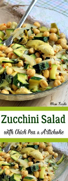This Zucchini Salad with Chick Pea & Artichoke is what I whipped up for a simple summer dinner tonight. Nope, no in depth recipe planning here, this is fly-by-the-seat-of-your-pants gleaning from the garden and pantry style cooking. The zucchini salad ma Chickpea Recipes, Vegetable Recipes, Healthy Recipes, Chickpea Salad, Healthy Salads, Zucchini Salad, Vegan Zucchini, Recipe Zucchini, Vegetarian Entrees