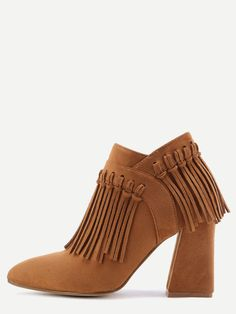 Shop Brown Faux Suede Tassel Fringe Chunky Heel Ankle Boots online. SheIn offers Brown Faux Suede Tassel Fringe Chunky Heel Ankle Boots & more to fit your fashionable needs.