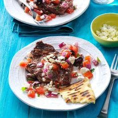 Grilled Steaks with Greek Relish Recipe -My ribeye steak showcases the flavors of Greece my husband and I were introduced to while on a cruise. We like it with pita bread and hummus. Rare Steak, Juicy Steak, Grilled Steaks, Grilled Meat, Relish Recipes, Sous Vide Cooking, Greek Dishes, Cooking For A Crowd, Skirt Steak