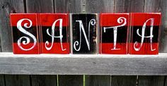 Very popular and beautiful SANTA Belt Christmas Decor Wood Blocks. Beautiful red, black, distressed 3.5 x 5 wooden blocks with jolly white letters