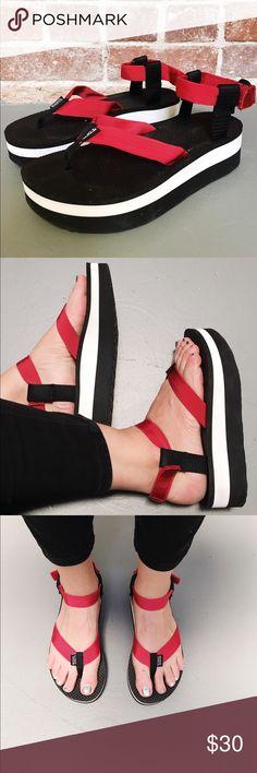 f0b0d4c9b20f Shop Women s Teva Black Red size Sandals at a discounted price at Poshmark.