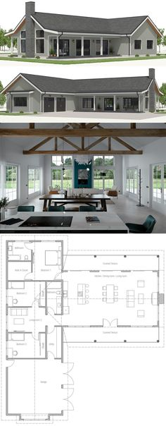 I like the floor plan pictured here, but the link does not provide a website or specific information for this houseplan. I love all the windows and open floor plan pictured. Barn House Plans, Dream House Plans, Small House Plans, House Plans With Pool, Cool House Plans, One Floor House Plans, Beautiful House Plans, Kitchen Floor Plans, Design Home Plans