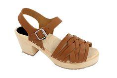 Lotta From Stockholm Torpatoffeln Swedish Clogs : Braided High Heel Clogs in Wax Tan Leather 8.5 B(M) US / 39 M EU