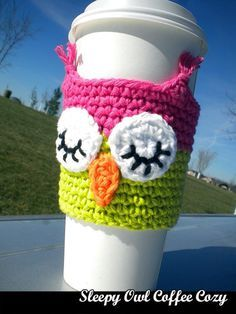 Sleepy Owl Coffee Cozy crochet pattern, perfect for iced coffees. Earth-friendly... save a tree and make your own sleeves!