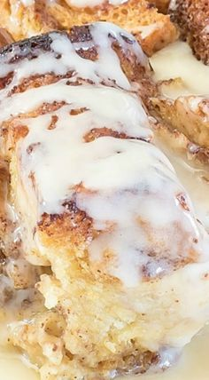 Eggnog Cinnamon Roll Bread Pudding