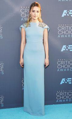 Saoirse Ronan wears a pale blue Antonio Berardi dress with crystal detailing
