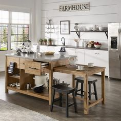 There is no question that designing a new kitchen layout for a large kitchen is much easier than for a small kitchen. A large kitchen provides a designer with adequate space to incorporate many convenient kitchen accessories such as wall ovens, raised. Farmhouse Kitchen Island, Kitchen Island Decor, Modern Kitchen Island, Kitchen Layout, Country Kitchen, New Kitchen, Kitchen Dining, Kitchen Ideas, Moveable Kitchen Island