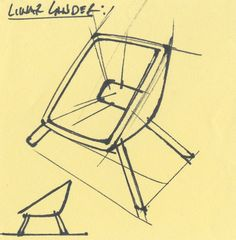 """Lunar Lander"" chair sketch. Ink on PostIt.I really enjoy thumbnail sketching. They seem to have an energy, character, and purity that's very hard to capture in refined sketches and illustrations.James Owen Design#design #industrialdesign #visual #designlife #sketching #sketches #designer #technique #designsketch #sketchoftheday #productdesign #productdevelopment #vision #furniture #furnituredesign #minimal #minimalism"