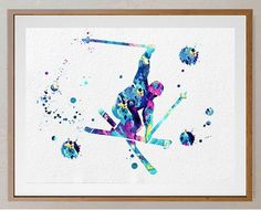 50% OFF Skier watercolor print downhill skiing by MimiPrints
