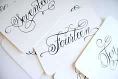 Handwritten Wedding Calligraphy Table Numbers by LittlePinkPaperie, $15.00