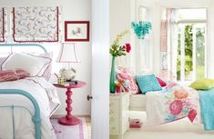 turquoise, white, and pink bedrooms