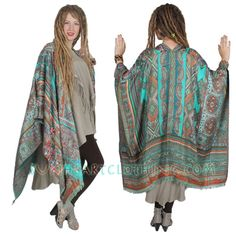 ANU WOOL STUNNING URBAN BOHO EMBROIDERED RUANA SHAWL JACKET ONE SIZE  #ANU #RUANAJACKET