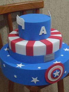Captain America Party, Captain America Birthday, 12th Birthday Cake, Birthday Cake For Husband, Superhero Cake, Superhero Birthday Party, Bolo Super Mario, Navy Cakes, Bolo Fack