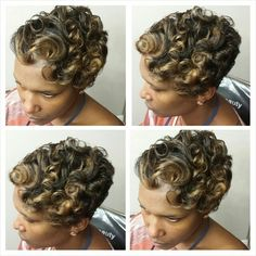 Pin curl short hairstyle