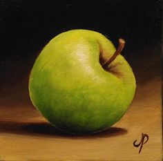 Granny Smith Apple by Jane Palmer   10 x 10 cm Oil
