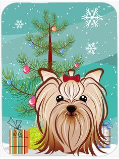 Yorkie Crystal Glass Christmas Ornament Puppy Cut