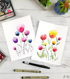 Easy Watercolor Flowers Step by Step Tutorial. Learn how to paint these lovely flowers with a detailed step by step lesson from Torrie of Fox + Hazel. Easy Watercolor Flowers Step by Step Tutorial Hi Watercolor Art Lessons, Watercolor Art Diy, Watercolor Art Paintings, Easy Paintings, Floral Watercolor, Simple Watercolor, Flower Paintings, Indian Paintings, Watercolor Portraits