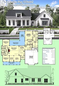 LOVE THIS DESIGN AND THE FRONT DOOR!! Architectural Designs Modern Farmhouse Plan Plan 51766HZ gives you just over 2,300 square #51766HZ