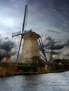 Dutch windmills in Holland, The Netherlands. #windmills #Holland #travel
