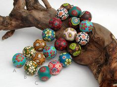 Wald  Perlenset aus Polymer Clay, handgefertigt, Fimo Millefiori, Millefleur, Art Clay, Kette, Blütenperlen
